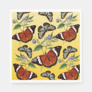 butterflies mix yellow paper napkin