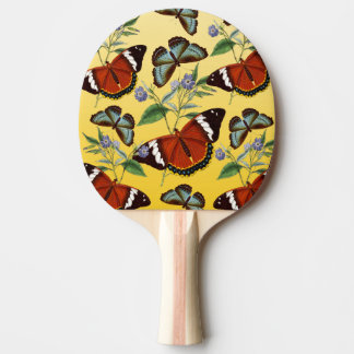 butterflies mix yellow ping pong paddle