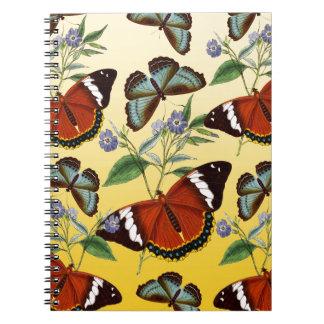butterflies mix yellow spiral notebook