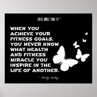 Butterflies of Fitness Motivation: Black White 006 Poster
