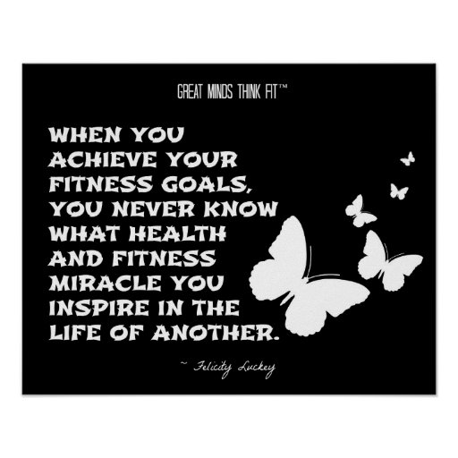 Butterflies of Fitness Motivation: Black White 006 Poster