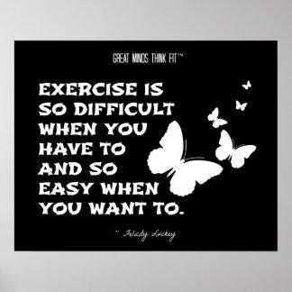 Butterflies of Fitness Motivation: Black White 011 Poster