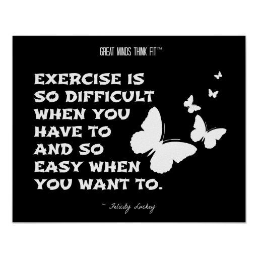 Butterflies of Fitness Motivation: Black White 011 Poster