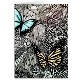 Butterflies on Black and White Design Card