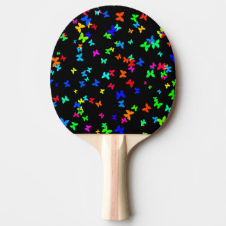 Butterflies on black ping pong paddle