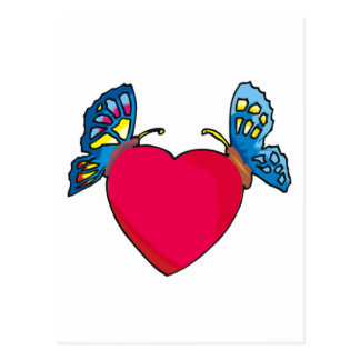 butterflies on heart design postcard