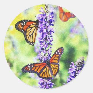 Butterflies on Hyacinth Classic Round Sticker