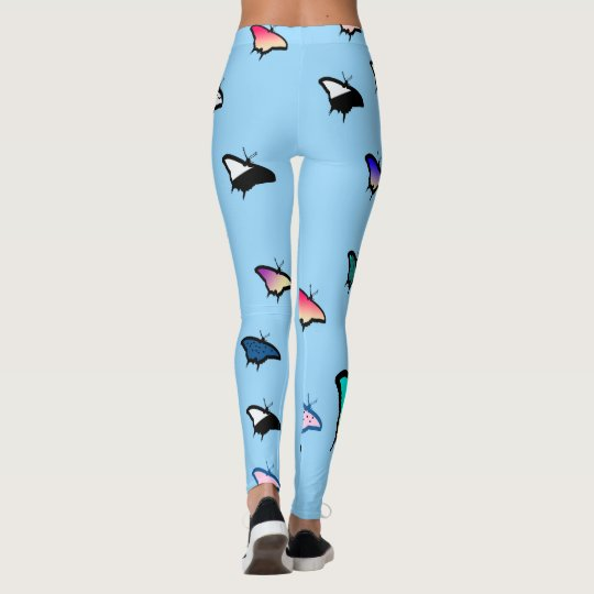 Butterflies on Light Blue Leggings