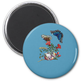 Butterflies on pomegranate 2 inch round magnet