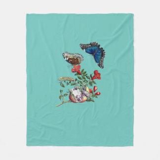 Butterflies on pomegranate fleece blanket