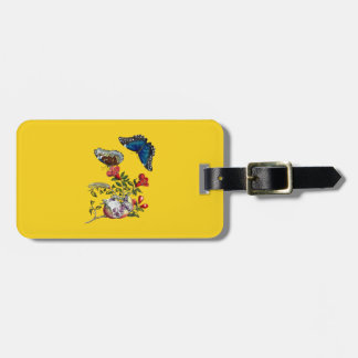 Butterflies on pomegranate luggage tag