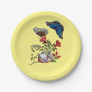 Butterflies on pomegranate paper plate