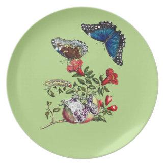 Butterflies on pomegranate plate