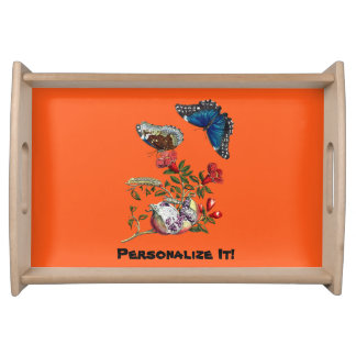 Butterflies on pomegranate serving tray