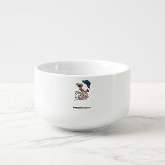 Butterflies on pomegranate soup mug
