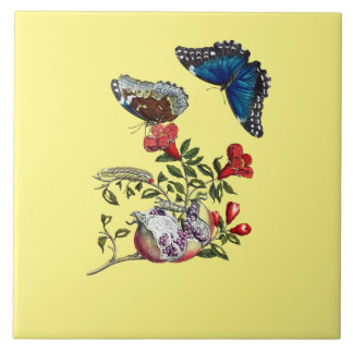 Butterflies on pomegranate tile