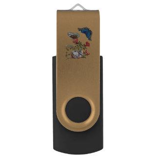 Butterflies on pomegranate USB flash drive