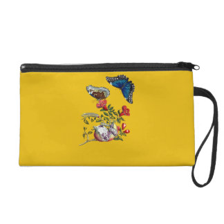 Butterflies on pomegranate wristlet purse