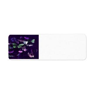 Butterflies On Purple Return Address Label