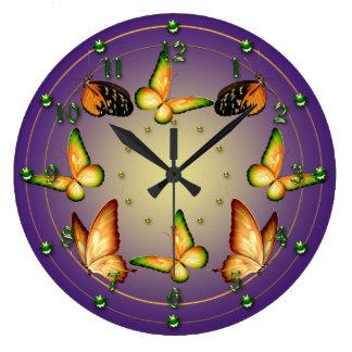 Butterflies on Purple Large Clock
