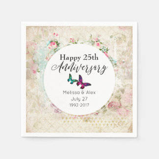 Butterflies on Shabby Vintage Collage Anniversary Disposable Napkin