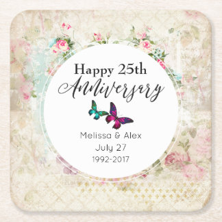 Butterflies on Shabby Vintage Collage Anniversary Square Paper Coaster