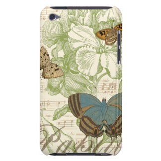 Butterflies on Sheet Music with Floral Design iPod Touch Case