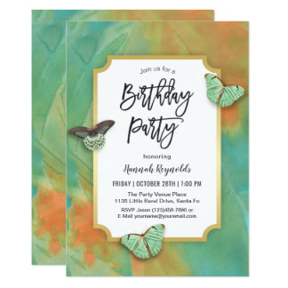 Butterflies on Southwest Colors Birthday Party Card