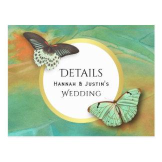 Butterflies on Southwest Colors Wedding Details Postcard