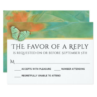 Butterflies on Southwest Colors Wedding RSVP Card