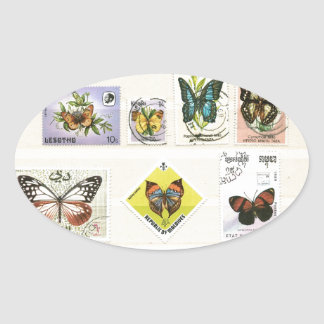 Butterflies on stamps 1 oval sticker