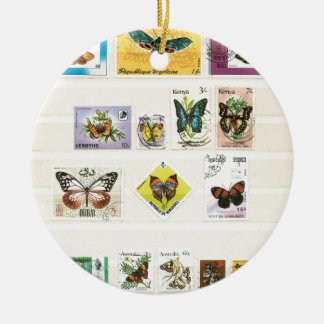 Butterflies on stamps 1 round ceramic ornament