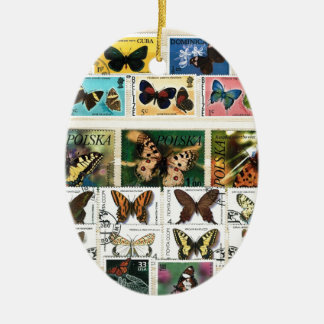 Butterflies on stamps 2 ceramic oval ornament