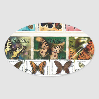 Butterflies on stamps 2 oval sticker