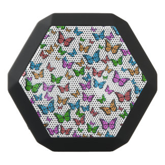 Butterflies Pattern Design Black Bluetooth Speaker