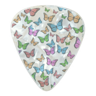 Butterflies Pattern Design Pearl Celluloid Guitar Pick