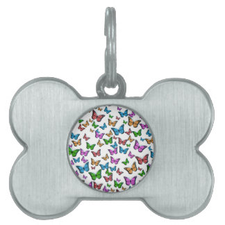Butterflies Pattern Design Pet Name Tag