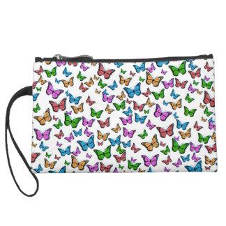 Butterflies Pattern Design Suede Wristlet
