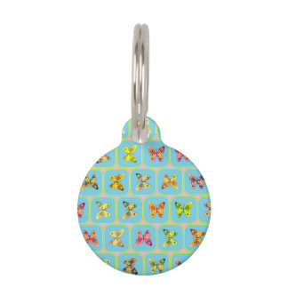 Butterflies pattern pet ID tag