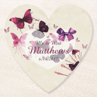 Butterflies Personalized Wedding Heart Coasters