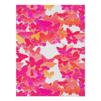 Butterflies, pink, fuchsia and coral poster