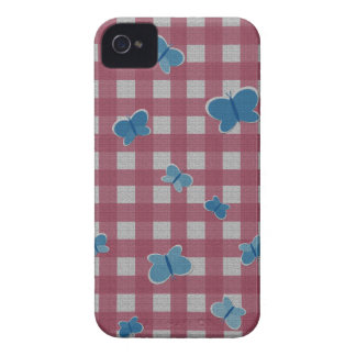 Butterflies plaid pattern iPhone 4 Case-Mate cases