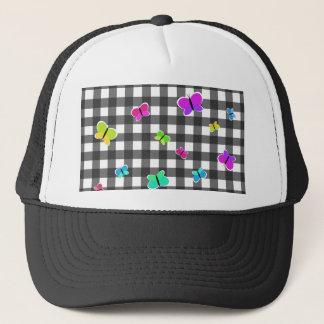 Butterflies plaid pattern trucker hat