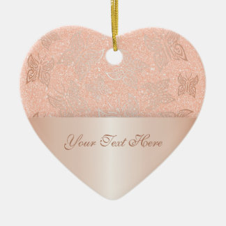 Butterflies Rose Gold Personalize Ceramic Ornament