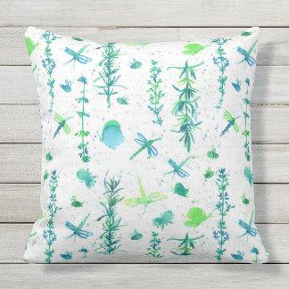 Butterflies Rosemary Thyme Herbs Throw Pillow
