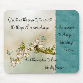 Butterflies Serenity Prayer Mousepad ~teal