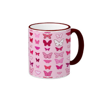 Butterflies, shades of pink and fuchsia mug