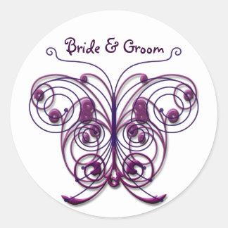 Butterflies Swirl Purple Classic Round Sticker
