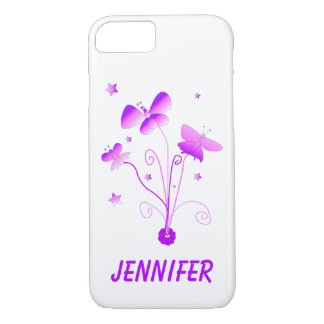 Butterflies Swirls Pink Purple Personalize Case-Mate iPhone Case