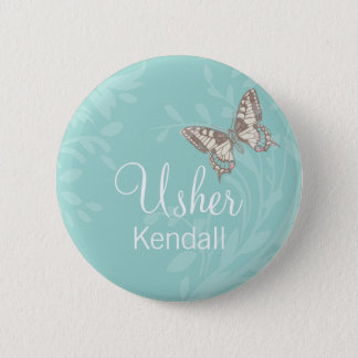 Butterflies Usher teal wedding pin / button